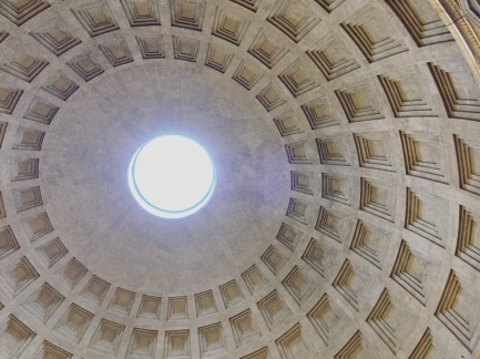 The dome of the Pantheon seen from inside.